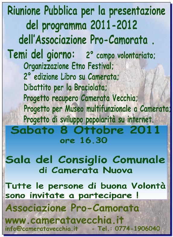 Convocazione Riunione Associazione Pro-Camorata